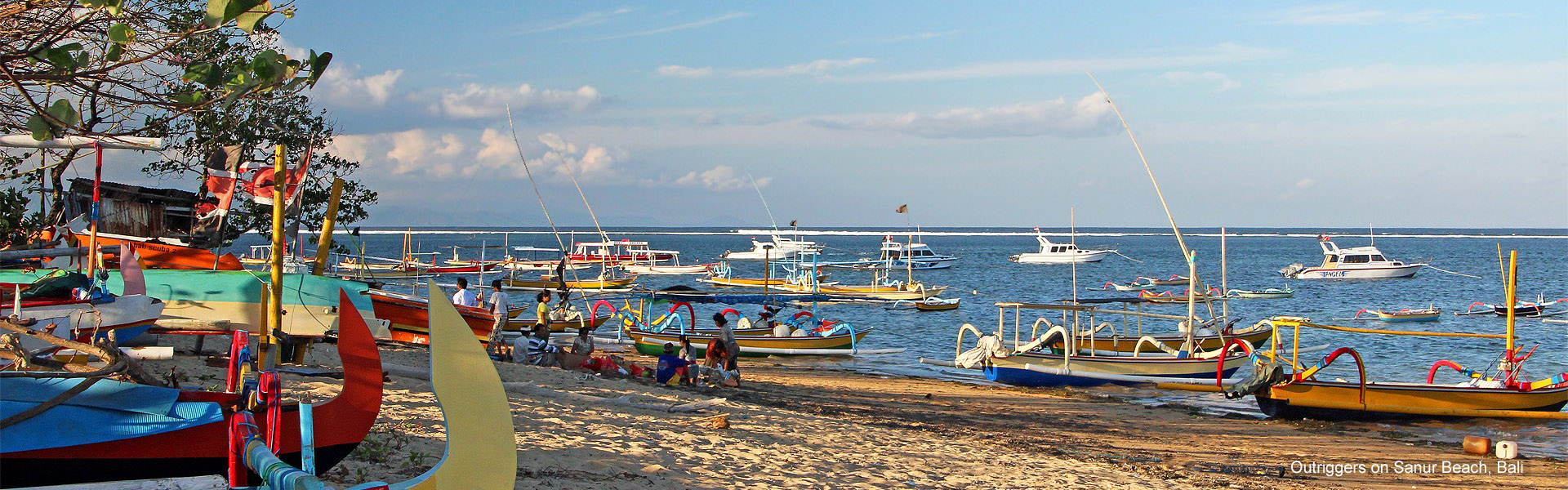 Colourful outriggers on Sanur Beach, Bali