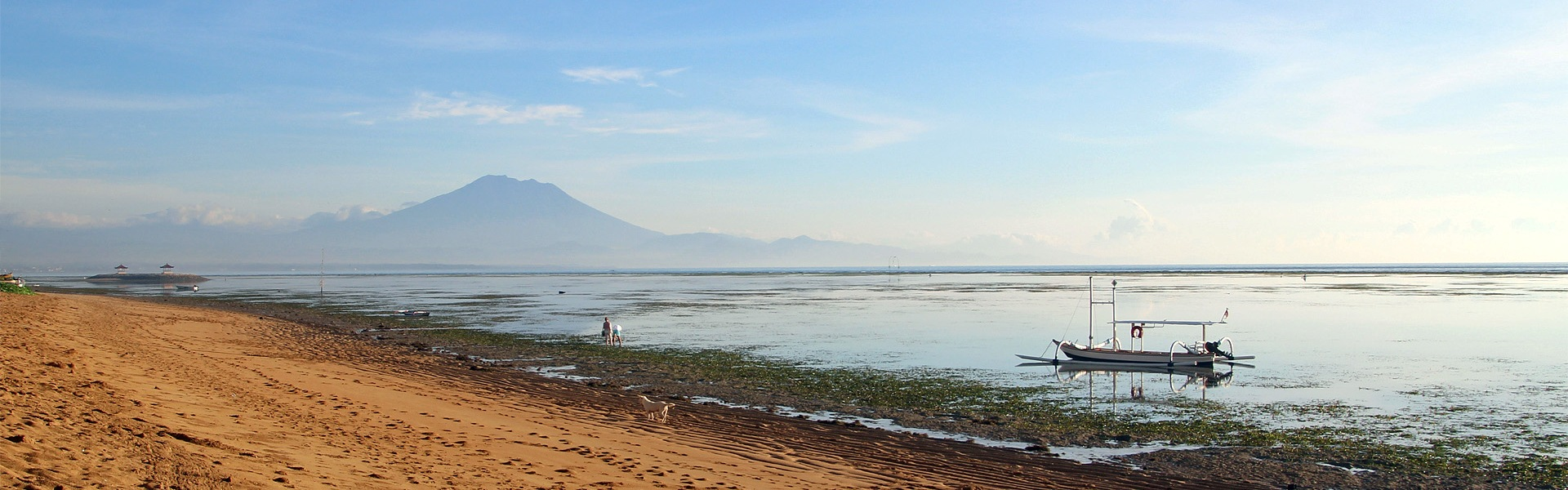 Early morning on Sanur Beach with Mt Agung in the background, Bali