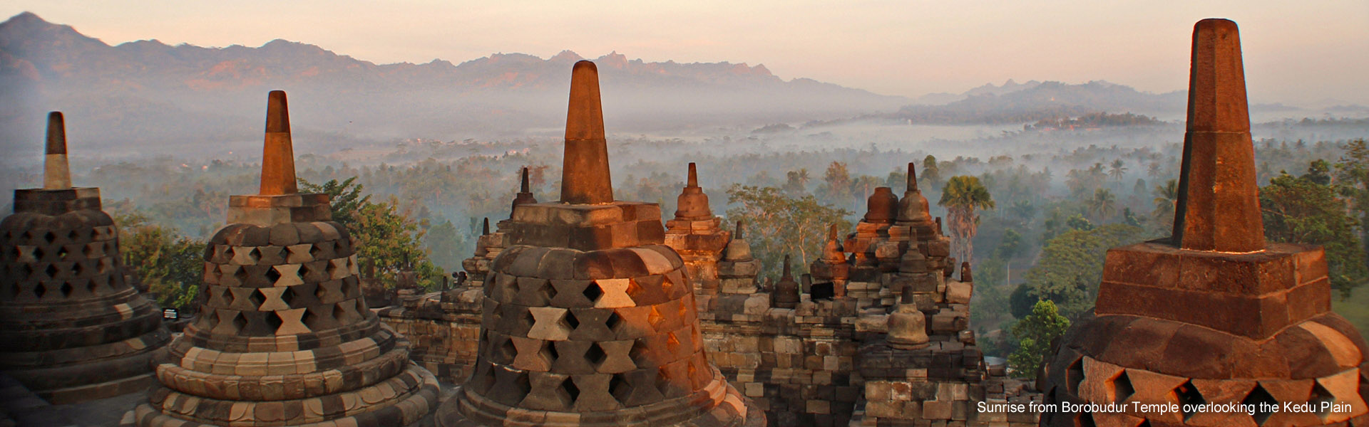 Sunrise from Borobudur Temple overlooking the Kedu Plain