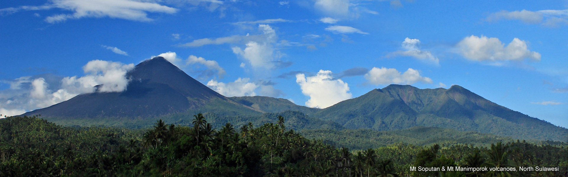 Mt Soputan and Mt Manimporok volcanoes, North Sulawesi