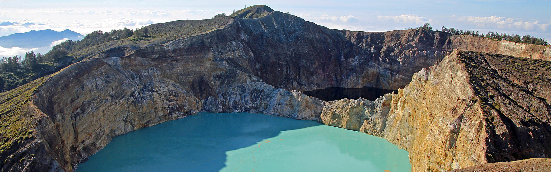 Coloured crater lakes of Kelimutu volcano, Flores Indonesia