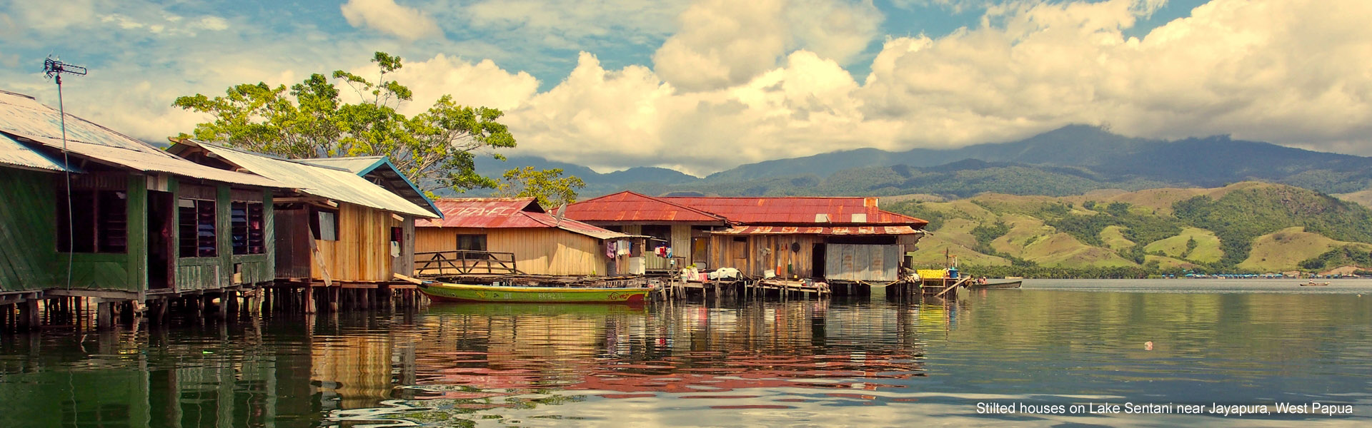 Stilted houses on Lake Sentani, Jayapura, West Papua