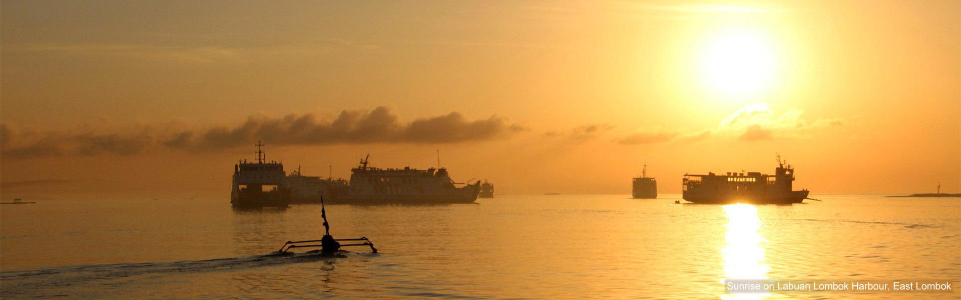 Sunrise over Labuan Lombok harbour, East Lombok