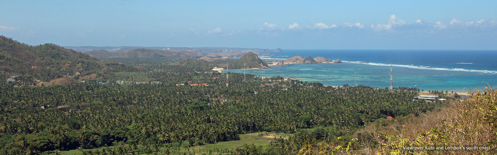 View of Kuta and Lombok's southern coastline
