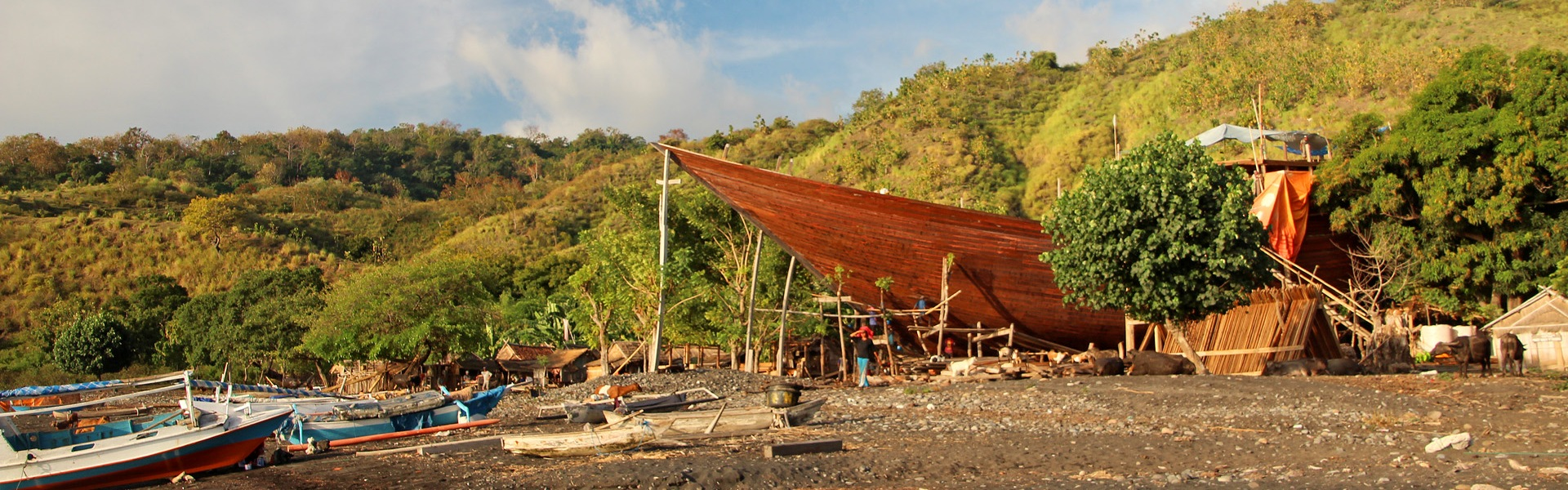 Phinisi boat building on Sangeang Api island, Sumbawa, Indonesia