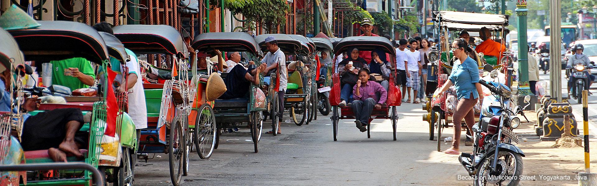 Becaks on Marlioboro Street, Yogyakarta, Java
